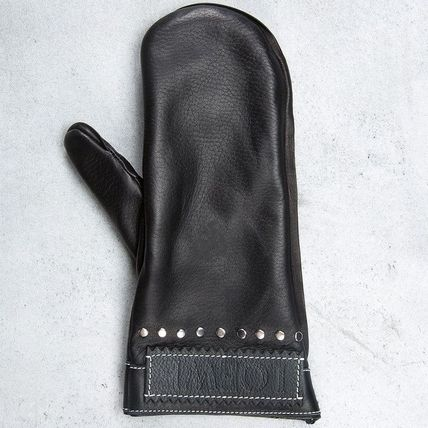 LOEWE Studded Leather Logo Leather & Faux Leather Gloves