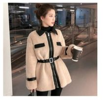 Stand Collar Coats Suede Faux Fur Blended Fabrics