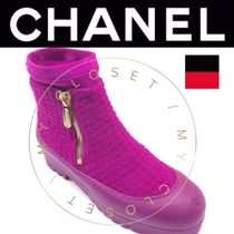CHANEL ICON Plain Toe Casual Style Tweed Blended Fabrics Street Style
