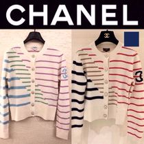 CHANEL ICON Short Stripes Casual Style Street Style Long Sleeves