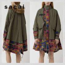 sacai Flower Patterns Casual Style Nylon Plain Medium Parkas