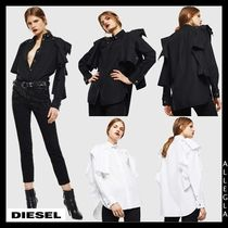 DIESEL Long Sleeves Plain Cotton Shirts & Blouses