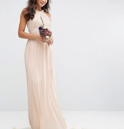 Maxi Collaboration Plain Long Party Style Dresses