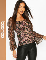 boohoo Leopard Patterns Casual Style Shirts & Blouses