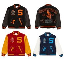 Supreme Short Wool Street Style Leather Logo Varsity Jackets
