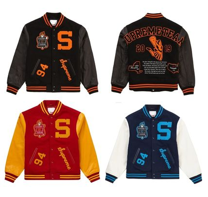 Short Wool Street Style Leather Logo Varsity Jackets