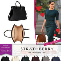 STRATHBERRY Casual Style Unisex Calfskin A4 2WAY Plain Elegant Style
