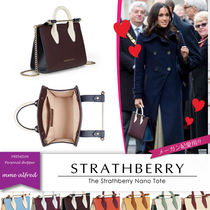 STRATHBERRY Casual Style Calfskin 2WAY Bi-color Plain Elegant Style