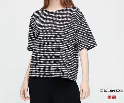 Short Dots U-Neck Collaboration Cotton Medium Short Sleeves