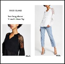 River Island Casual Style Long Sleeves Plain Party Style Lace With Jewels