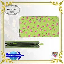 PRADA Tropical Patterns Leather Long Wallets