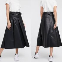 ASOS Flared Skirts Casual Style Faux Fur Plain Medium Midi Skirts