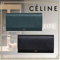 CELINE Calfskin Leather Long Wallets