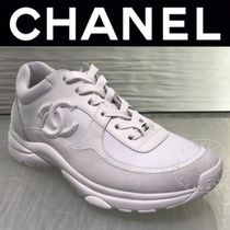 CHANEL SPORTS Unisex Suede Blended Fabrics Street Style Plain Leather