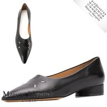 Maison Margiela Casual Style Plain Leather Block Heels Logo Shoes