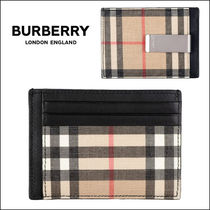 Burberry Other Check Patterns Unisex Leather Card Holders