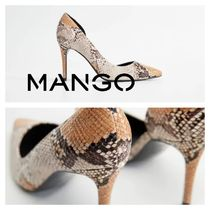 MANGO Pin Heels Python Pointed Toe Pumps & Mules