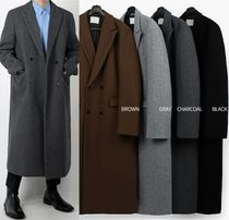 Street Style Plain Long Oversized Chester Coats
