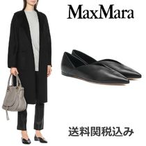 MaxMara Plain Leather Elegant Style Pointed Toe Shoes