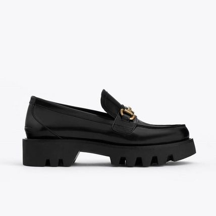 Black Leather Loafers with Track Sole