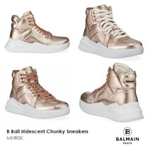 BALMAIN Round Toe Rubber Sole Lace-up Casual Style Street Style