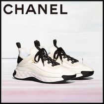 CHANEL Casual Style Blended Fabrics Street Style Plain