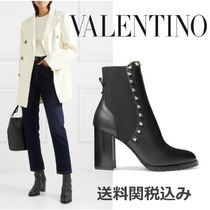 VALENTINO Studded Plain Leather Chelsea Boots Elegant Style