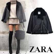 ZARA Faux Fur Plain Biker Jackets