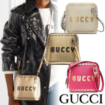 GUCCI Casual Style Collaboration Logo Shoulder Bags