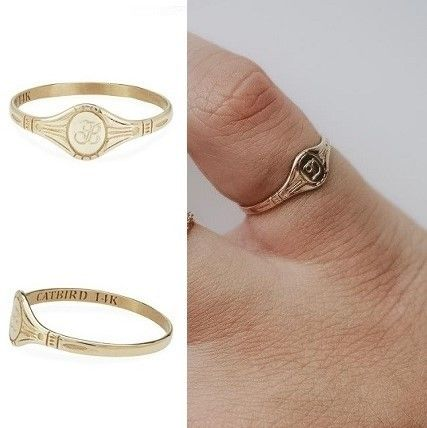 Initial 14K Gold Pinkie Ring Fine