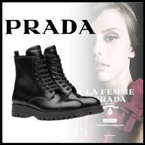 PRADA Rubber Sole Casual Style Logo Military Ankle & Booties Boots