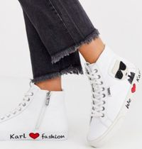 Karl Lagerfeld Blended Fabrics Leather Low-Top Sneakers