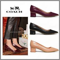 Coach Casual Style Studded Plain Leather Block Heels