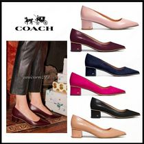 Coach Casual Style Studded Plain Leather Block Heels Office Style