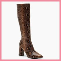 Lipsy Casual Style Python Chunky Heels Boots Boots