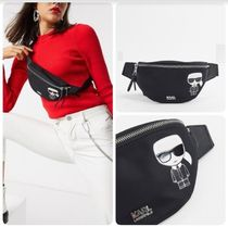 Karl Lagerfeld Casual Style Nylon Street Style Plain Leather Shoulder Bags