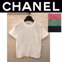 CHANEL MATELASSE Crew Neck Blended Fabrics Street Style Medium Short Sleeves