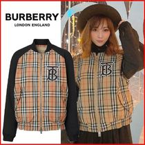 Burberry Short Tartan Unisex Nylon Blended Fabrics Bi-color MA-1