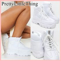 PrettyLittleThing Platform Lace-up Casual Style Faux Fur Street Style Plain