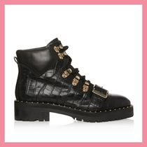 Lipsy Round Toe Lace-up Casual Style Plain Other Animal Patterns