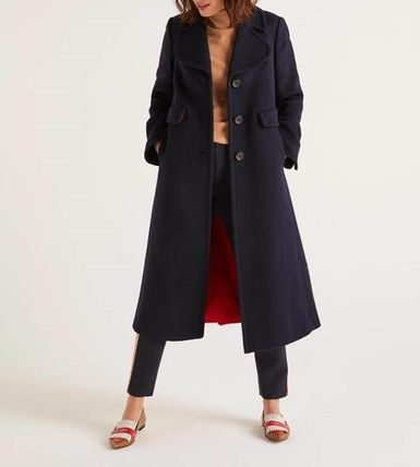 Casual Style Wool Bi-color Plain Long Chester Coats