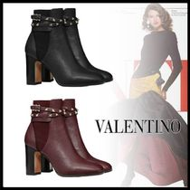 VALENTINO Casual Style Studded Block Heels Chelsea Boots