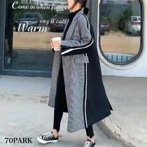 Zigzag Casual Style Plain Long Chester Coats