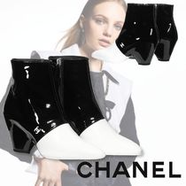 CHANEL 【CHANEL】 Casual Style Plain Leather Block Heels Office Style
