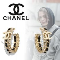 CHANEL Unisex Blended Fabrics Street Style Plain Leather Metal