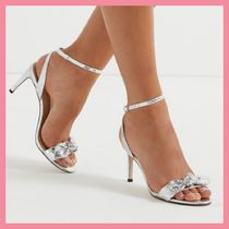 Lipsy Open Toe Faux Fur Pin Heels Party Style Python