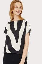 Milly Zebra Patterns Casual Style Short Sleeves Tops