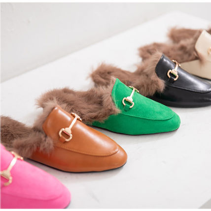 Casual Style Faux Fur Plain Slippers Sandals
