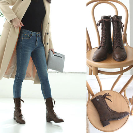 Round Toe Lace-up Casual Style Faux Fur Plain Block Heels