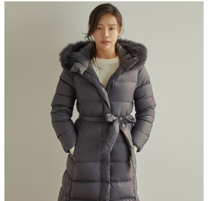Fur Blended Fabrics Plain Long Shearling Parkas
